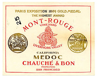 Livermore, California - Historic wine label from the Mont-Rouge Vineyard. Founded in 1884, it won a gold medal at an exhibition in Paris in 1890. The winery was destroyed by fire in the 1930s.