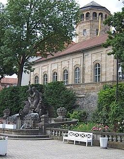 Wittelsbacherbrunnen und Schlossturm Bayreuth
