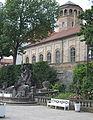 Wittelsbacherbrunnen und Schlossturm Bayreuth.JPG