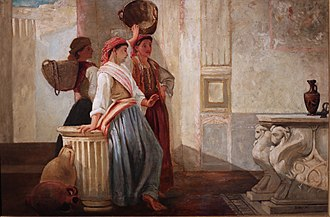 Henry Woods (painter) - Henry Woods (1846-1921), Three Women Contemplating Classical Art, 24 x 61 cm, oil on canvas (Private collection)