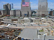 World Trade Center site on September 11, 2006; early stages of construction and foundation work for the Freedom Tower (shown here) were paused in observance of the fifth anniversary