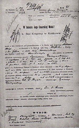 Ignacy Daszyński - Sentence on Daszyński, 1896.