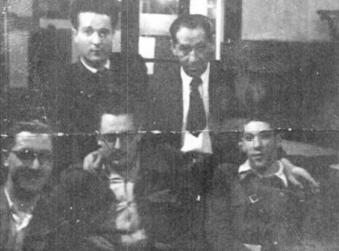 Xosé María Álvarez Blázquez cuns amigos en Santiago de Compostela, 17 de xuño de 1939