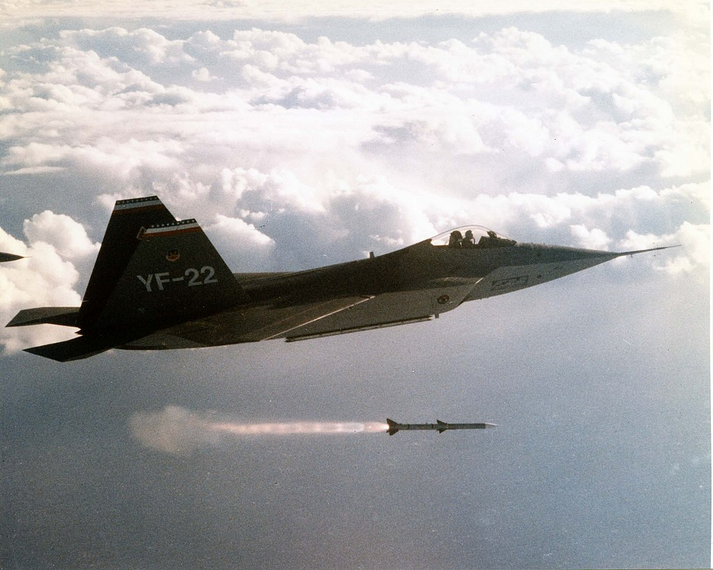 YF-22 Advanced Technology Fighter fires a missile