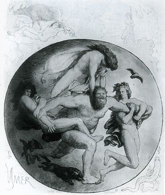 Ymir - Ymir is attacked by the brothers Odin, Vili, and Vé in an illustration by Lorenz Frølich.