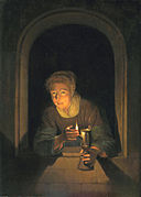 Young Woman Holding a Lamp by Gerard Dou Mauritshuis 33.jpg