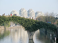 The Tongji Bridge over the Yaojiang River in downtown Yuyao.
