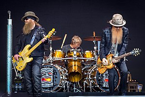 ZZ Top (left to right: Dusty Hill, Frank Beard, Billy Gibbons) performing in June 2016