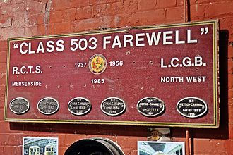 British Rail Class 503 - A preserved signboard from the Class 503 farewell tour, at the Wirral Transport Museum, Birkenhead. Although the six BR manufacturer's plates remain on the board, the six LMS plates have been removed.
