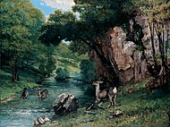 'Roe Deer at a Stream', oil on canvas painting by Gustave Courbet.jpg