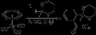 (Benzene)chromium tricarbonyl - Image: (Benzene)chromiumtri carbonyl electrophile nucleophilic carbonylation