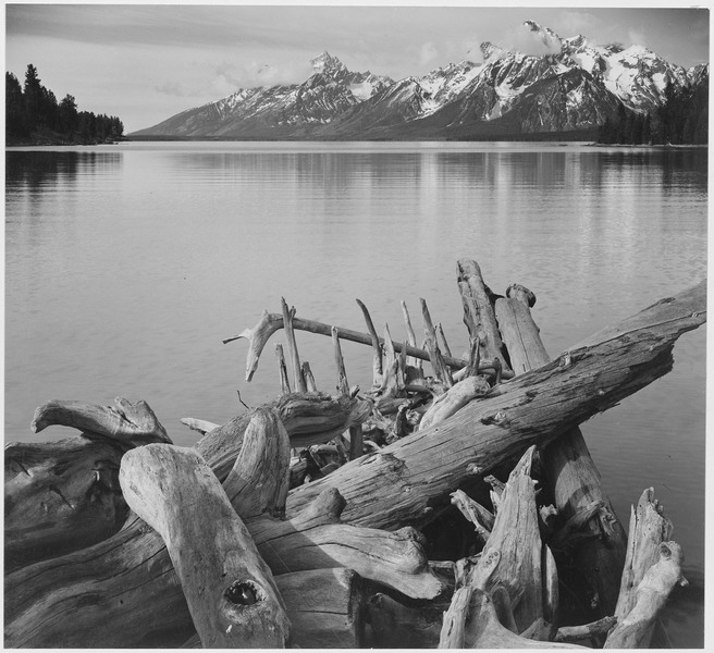 File:(Jackson Lake in foreground, with Teton Range in background, view looking southwest from north end of the lake.), Grand - NARA - 519909.tif
