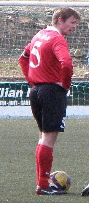 Øssur Hansen - Hansen playing for B68 Toftir against FC Suðuroy in 2010.