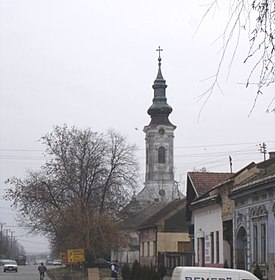 Šajkaš, main street and the Orthodox Church.jpg