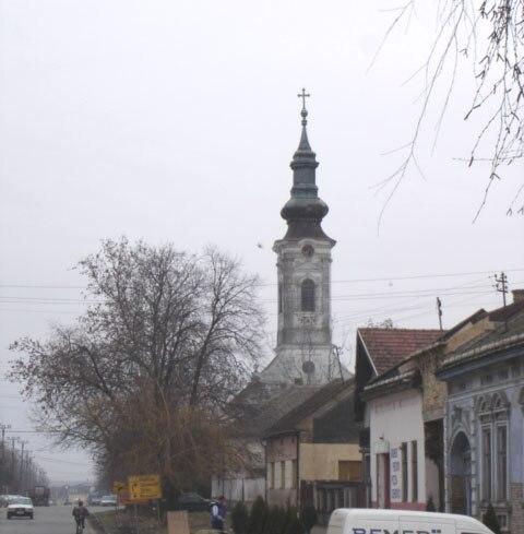 Šajkaš, main street and the Orthodox Church