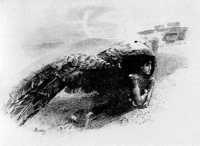 Демон летящий. Акварель, 1891