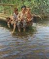 Николай Богданов-Бельский - Четыре мальчика на пристани рыболовства.jpg