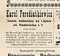 Оголошення Кароля Передяткевича (Газета Glos Wolny, 23 березня1894, № 6).jpg