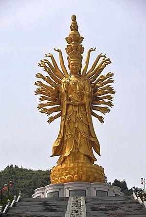 Hall of Guanyin - Guishan Guanyin of the Thousand Hands and Eyes in Miyin Temple, Changsha, Hunan, China.