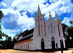 White church with red trim