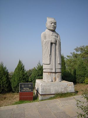 Qianling Mausoleum - A stone carved guardian statue along the Spirit Way