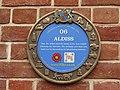 -2019-07-08 Fakenham Lancaster Heritage Trail blue plaque, Aldiss, Fakenham.JPG