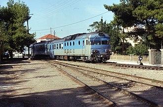 Diakopto - Diakopto train station in 1992 (metric gauge line not in use any more)