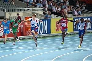 Christophe Lemaitre - 100 m final at the 2010 European Athletics Championships in Barcelona.