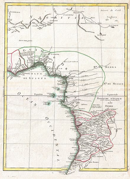 Map of West Africa (Rigobert Bonne (Royal Cartographer of France) 1770) 1770 Bonne Map of West Africa (Guinea, the Bight of Benin, Congo) - Geographicus - WestAfrica-bonne-1770.jpg