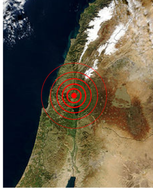Galilee earthquake of 1837 - Image: 1837 Galilee earthquake epicentre