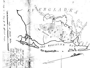 "Everglades - This map made by the U.S. military shows the term ""Everglades"" was in use by 1857."