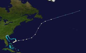 1884 Atlantic hurricane season - Image: 1884 Atlantic hurricane 3 track