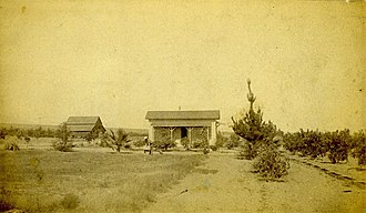 Rancho Cucamonga, California - Orchards and farms, such as this Cucamonga ranch photographed in 1884, had dominated the landscape of the area until the land development boom in the late 20th century.