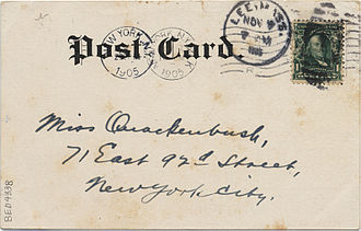 Postcard - Back of the above 1905 card