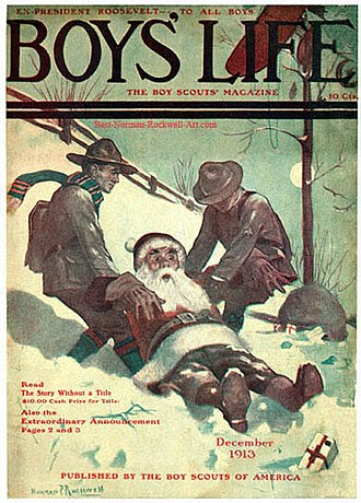 Scouting in popular culture - Santa and Scouts in Snow (1913), one of many Boys' Life covers
