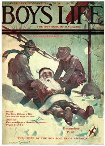 Santa and Scouts in Snow (1913), one of many Boys' Life covers 1913-12-Boys-Life-Norman-Rockwell-cover-Santa-and-Scouts-in-Snow-400.jpg