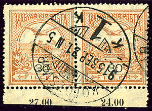 Cluj-Napoca - Pair of Hungarian postage stamps cancelled at Kolozsvár in 1915