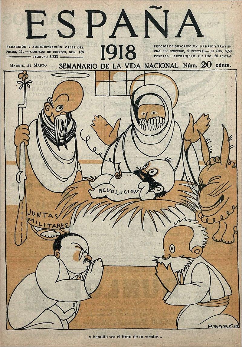 Caricatura en una portada de la revista España (21 de marzo de 1918).