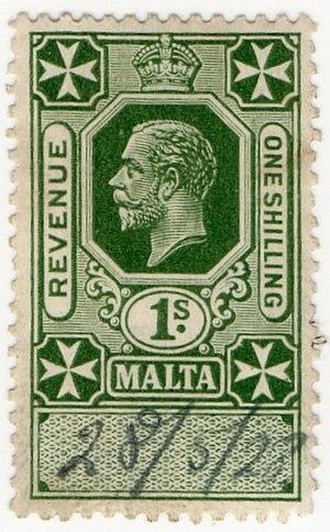 Revenue stamps of Malta - The 1/- value of 1925 depicting King George V