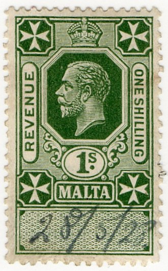 Revenue stamps of Malta - The 1/- value of 1925 depicting King George V
