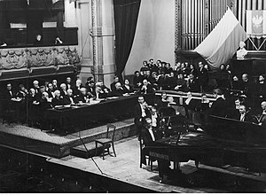 International Chopin Piano Competition - 3rd Chopin Competition (1937). Among members of the jury (sitting on the left) Heinrich Neuhaus, Emil von Sauer, Guido Agosti, and Wilhelm Backhaus