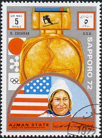 Barbara Cochran - Cochran on a stamp of Ajman