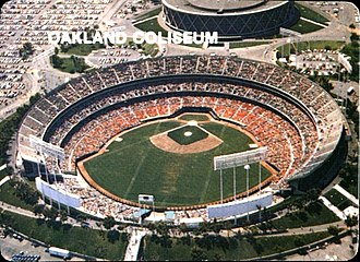 Oakland Athletics - The Coliseum as seen in its original open grandstand configuration before being enclosed.