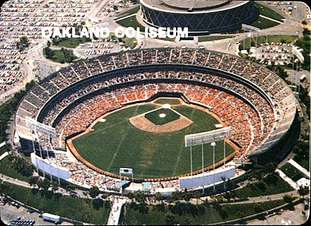 The Oakland Coliseum, home of the Oakland Athletics baseball team 1984 Mother's Cookies - Oakland Coliseum.JPG