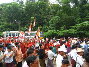 Monks protesting in Myanmar, September 24, 2007