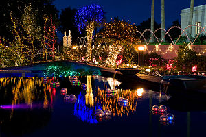 Mesa Arizona Temple - Christmas Lights Reflections