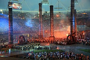 "Pandaemonium (history book) - Scene from the ""Pandemonium"" section of the 2012 Summer Olympics opening ceremony; rehearsal 23 July 2012."