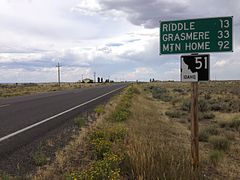 2014-08-19 14 38 45 First reassurance sign and mileage distance sign along northbound Idaho State Highway 51.JPG