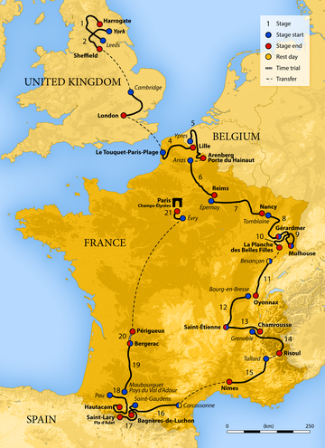 Map of France showing the showing the path of the race going clockwise starting in the United Kingdom, going through Belgium, then around France.