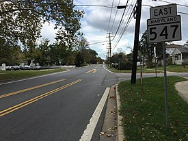 2016-10-21 12 52 04 View east along Maryland State Route 547 (Knowles Avenue) at Parkwood Drive in South Kensington, Montgomery County, Maryland.jpg